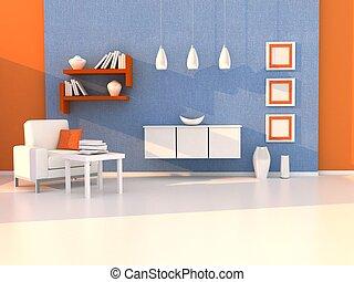 interior, estudo, modernos, sala