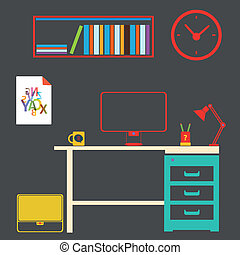 interior, estudo, trabalho, quarto moderno