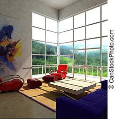 Interior fashionable living-room