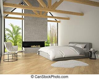 interior, fazendo, 3d, lareira, quarto