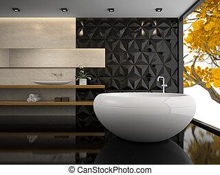 interior, fazendo, banheiro, 3d, elegante