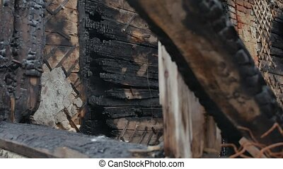 interior fire old burnt of burned-down wooden house after -...