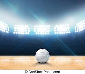 interior, floodlit, voleibol, tribunal