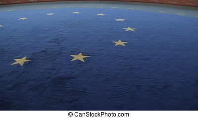 interior floor with european flag - interior floor with...