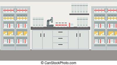 interior., fondo, laboratorio