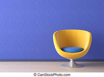 interior formgiv, hos, gul stol, på, blå