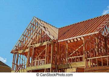 interior, formule, de, um, casa nova, construção