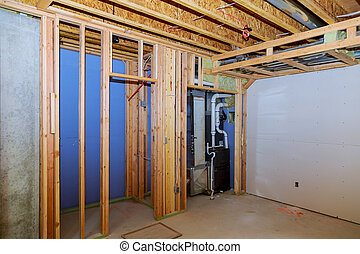 Interior frame of a new basement under construction