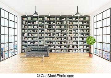 interior, frente, modernos, biblioteca