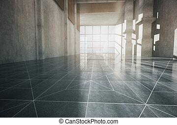 interior, frente, pasillo