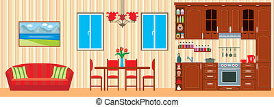 interior, furniture., cocina