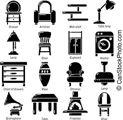 Interior furniture icons set, simple style