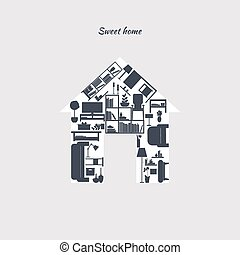 Interior furniture sweet home concept with indoors icons illustration