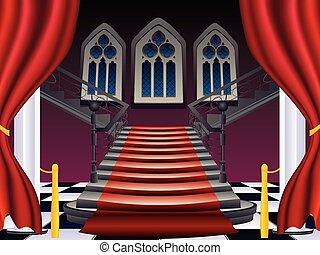 interior, gótico, escaleras