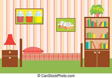 interior, girl., habitación
