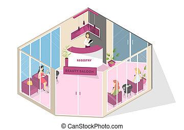 interior, glamour, spa, salão, recepção, beleza