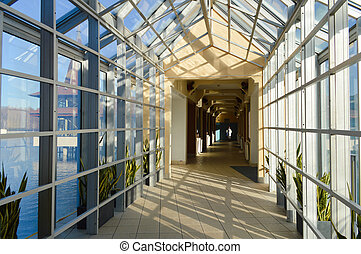 interior, glas, hal, perspektiv