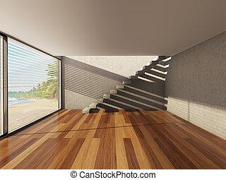 interior, grande, janela, modernos