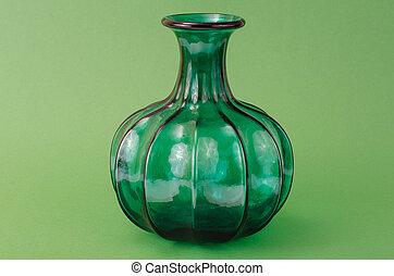 Interior green glass vase for flowers