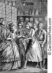 Interior groceries in the eighteenth century, vintage...