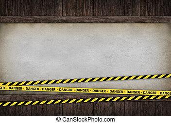 interior, habitación, cintas, peligro
