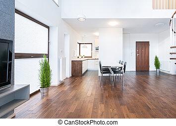 interior, habitación, espacioso, dinning