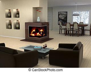 interior, hjem, konstruktion