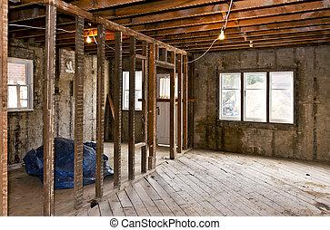 interior, hogar, gutted, renovación