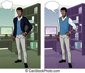 interior, hombre de negocios, oficina, africano