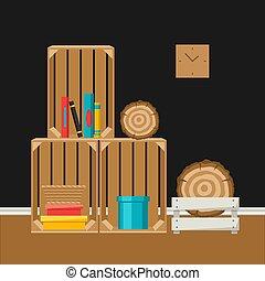 Interior home decor. Wooden boxes.
