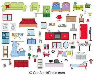 interior home - Illustration of interior furnishing home