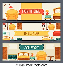 Interior horizontal banners with furniture in retro style.