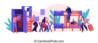 Interior Hostel for Student. Place for Living, Sleeping and Studying in Academic Year. Alternative Home for Character. Locate in Room Blunk Bed, Table and Cupboard. Flat Cartoon Vector Illustration