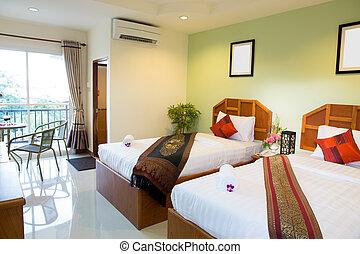 interior, hotel, quarto moderno, confortável