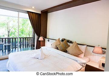 interior, hotel, sitio moderno, cómodo