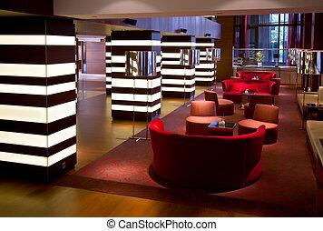 interior, hotel, vestíbulo