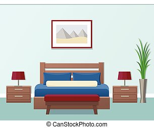 interior., hotel, vetorial, illustration., sala