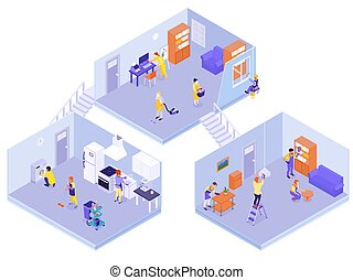 Interior House Cleaning Isometric Composition