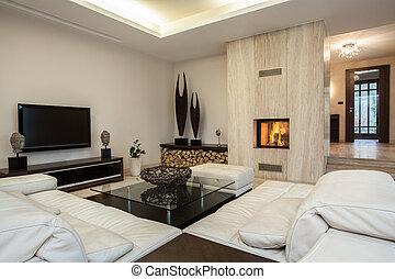interior, house:, travertine, vista