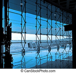 interior, i, den, lufthavn