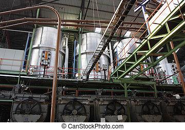 interior, i, en, sukker, fabrik