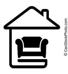 interior icon with armchair on home line silhouette
