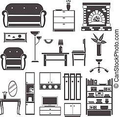 Interior Icons Black Set