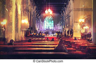 interior, igreja, vista