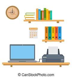 interior, ilustração, workspace