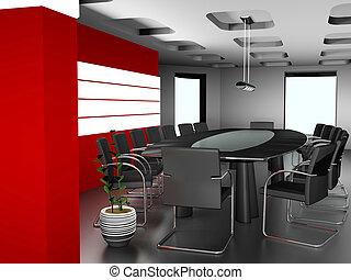 interior, imagem, modernos, escritório, 3d