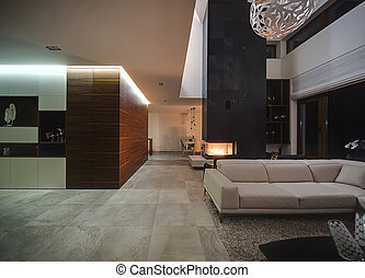 Interior in a modern style - Hall in a cottage with light ...