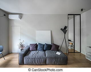 Interior in modern style with light walls