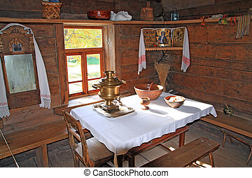 interior in rural wooden house