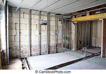 interior, inacabado, construya